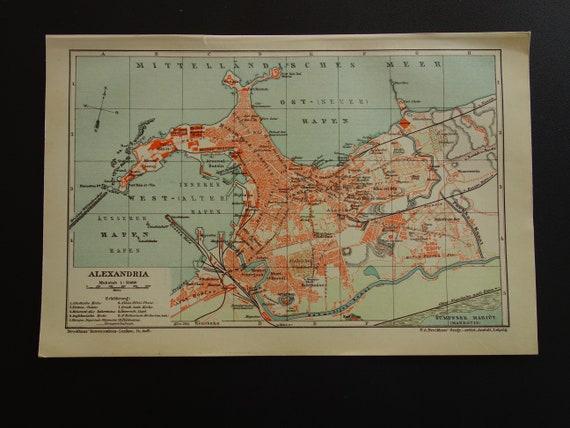 Alexandria Egypt World Map.Alexandria Old Map 1904 Original Antique City Plan Of Etsy