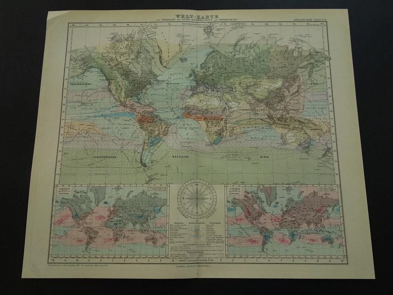 Antique World Map Large 1886 Original Old Poster World In Etsy