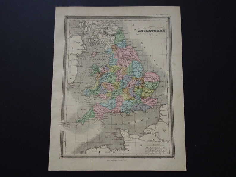 Map Of England Please.England Antique Map Of England And Wales 1878 Original Old Hand Colored Print About England Uk Vintage Maps Small Poster