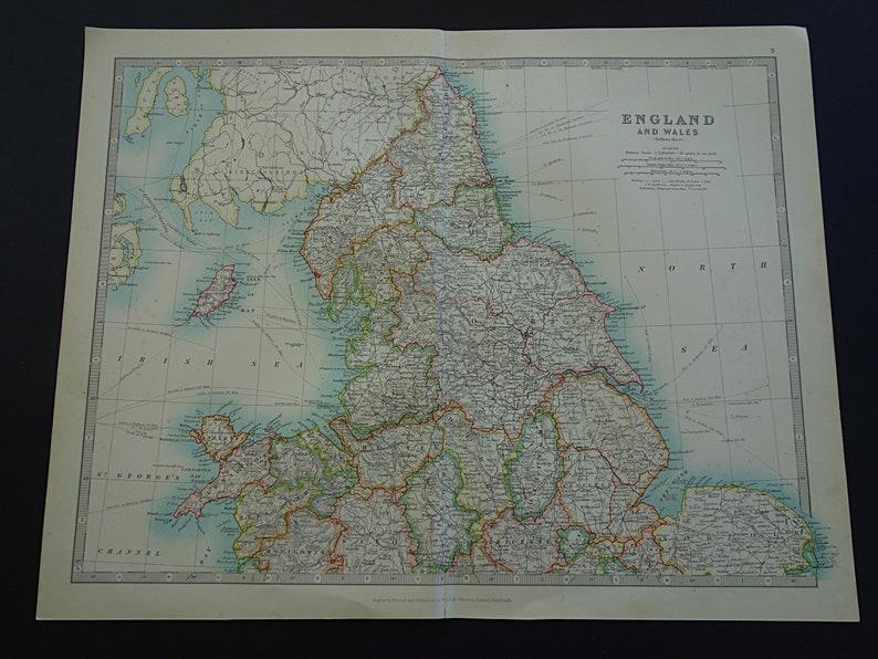 Map Of England Vintage.England Antique Map Large 1921 Original Vintage Print Poster Etsy