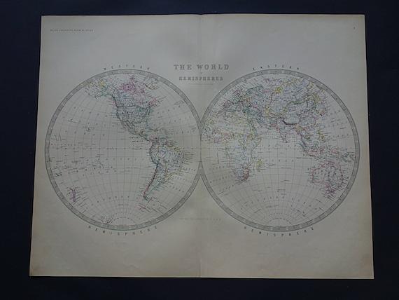 Antique World Map Large 1878 Original Old English Worldmap Etsy