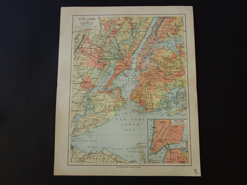 Map Of New York For Sale.New York Old Map 1905 Very Detailed Antique Map Of Ny City Area Original Vintage Maps Brooklyn Newark Jersey Manhattan Richmond 10x12