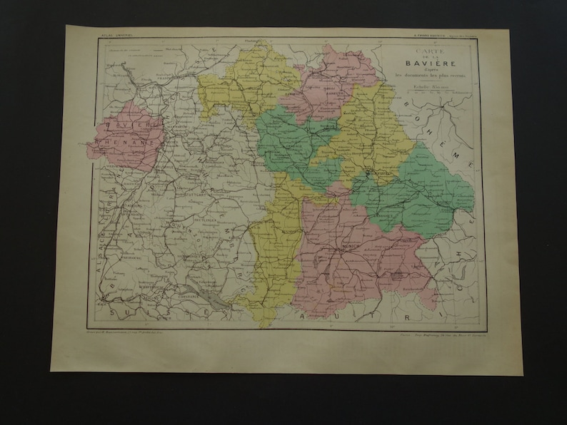 Map Of Germany Over The Years.Over 130 Years Old Map Of Bavaria Germany 1878 Antique French Print About Bayern Antieke Kaart Van Beieren Baviere Baviera Munchen Munich