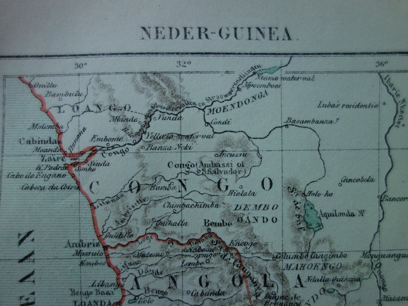 AFRICA antique map of Congo Angola 1882 original old Dutch   Etsy