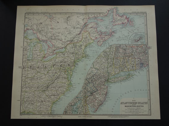 USA map LARGE 1892 original old antique poster map of US East Coast  detailed vintage maps New York Buffalo Cleveland Philadelphia - 15x18\