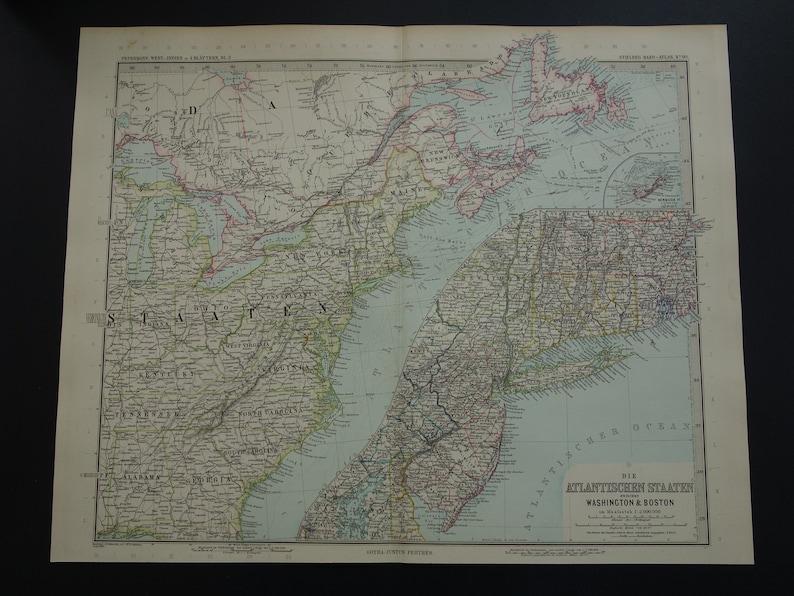 USA map LARGE 1892 original old antique poster map of US East Coast  detailed vintage maps New York Buffalo Cleveland Philadelphia - 15x18\