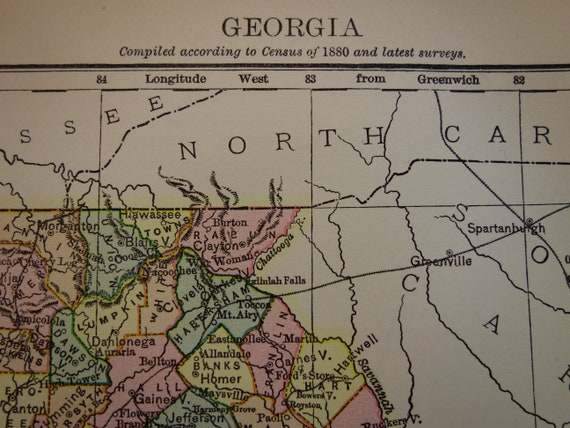 Georgia In Us Map.Georgia Antique Map Of Georgia State Us Beautiful Original Etsy