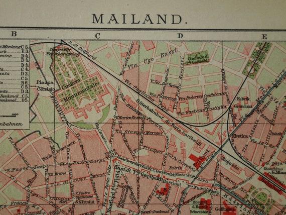 MILAN old map of Milan Italy 1905 original antique city plan | Etsy