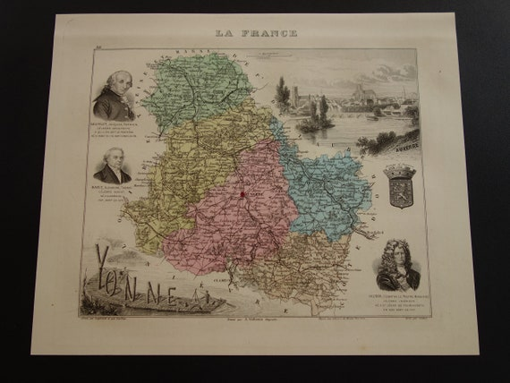 Map Of Yonne France.1882 Yonne Old Map Of Departement Beautiful Antique Etsy