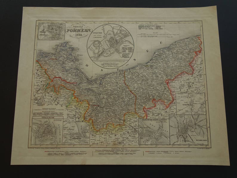 Pommern Germany Map.Germany Old Map Of Pomerania 1849 Original Antique Print Etsy
