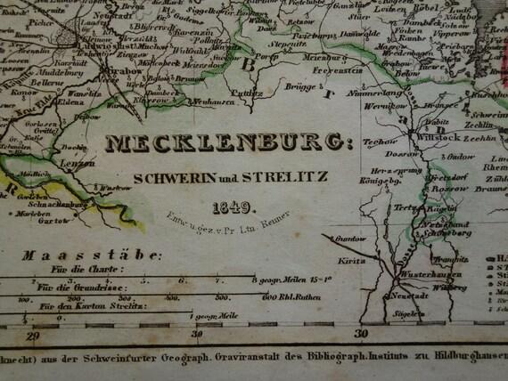 Germany Old Map Of Mecklenburg 1849 Original Antique Print Of Etsy