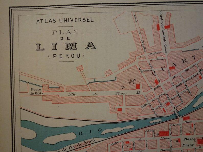 Lima Peru Karte.1877 Lima Old Map Of Lima Lovely Original Antique City Plan Lima Peru Vintage Maps About Peru Alte Karte Von Vintage Maps Print