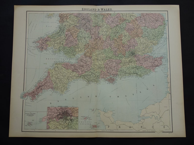Big Map Of England.England Antique Map Large 1875 Original Vintage Maps Poster Print Of England London Bristol Birmingham Old Maps 22x28 Inch Big