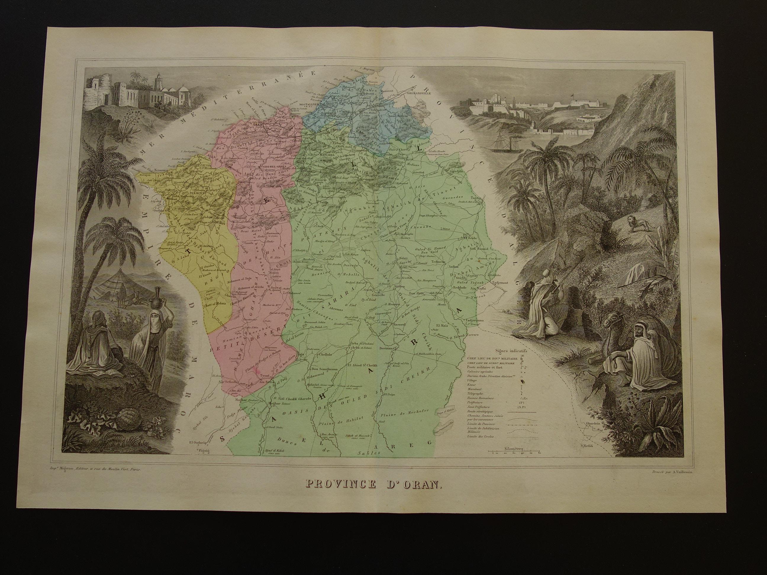 Carte Zero Algerie.1876 Old Map Of Oran Province Algeria Antique Hand Colored Engraving Vieille Carte De L Algerie Mostaganem Sig Saida 34x47c 13x19