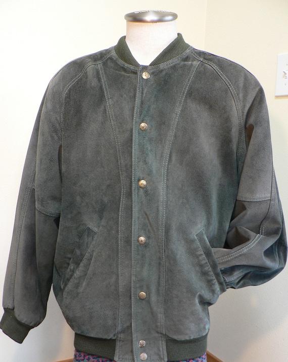 Bomber jacket, 80's suede forest green Bomber jack