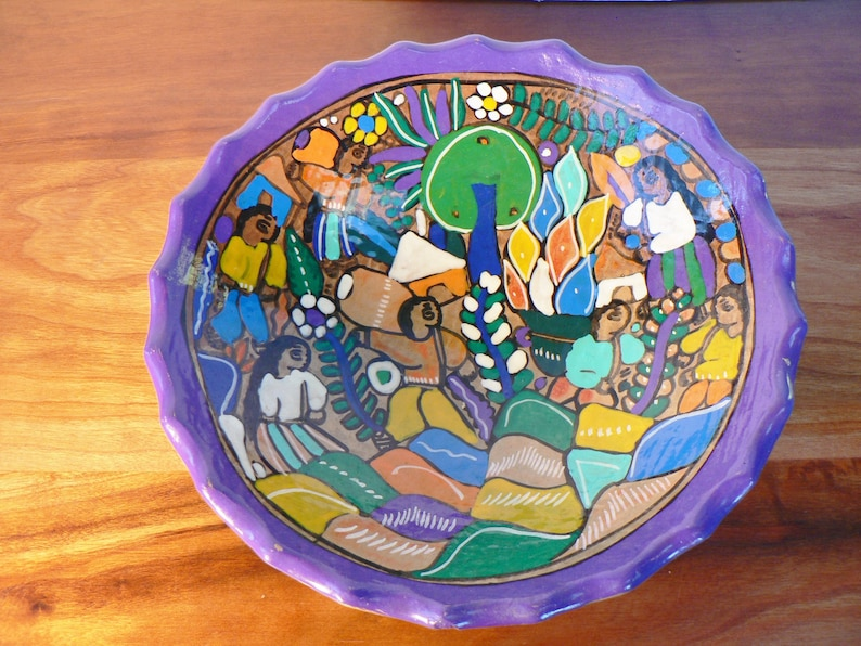 Mexican folk art Mexican folk art story bowl Redware terra cotta story bowl 8 Tlaquepaque primative hand painted bowl Mothers day gift
