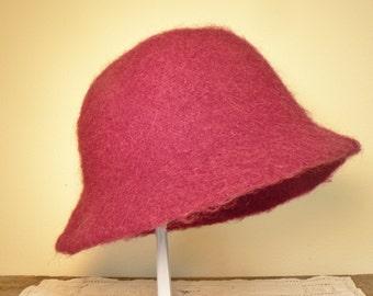 Wool felt hat, hand made hand felted wool hat,  Plum winter wool hat, Vintage cloche wool hat