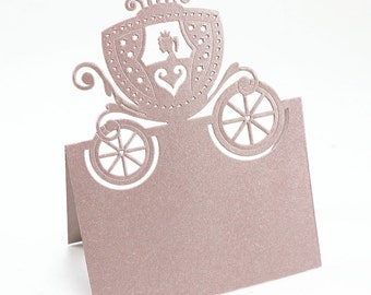Colorful Cutout Pumpkin Carriage Place Cards (pack of 12 cards) - **FREE SHIPPING**