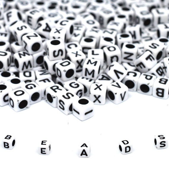 250 Assorted Black in white Alphabet Letter Acrylic Cube Pony Beads 6X6mm