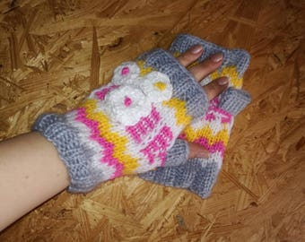 Knit Fingerles Gloves, KNIT GLOVES, Spring Gloves, Winter Mitts, Texting Gloves, Multicolor Gloves, Multistripe Gloves, Texting Mitts
