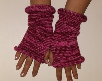 Knit Fingerles Gloves, KNIT PINK GLOVES, Fall Gloves, Winter Mitts, Texting Gloves, Multicolor Gloves, Multistripe Gloves, Texting Mitts