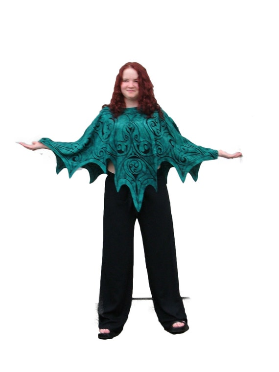 Dragon Fairy Wing Capelet Tunic teal once size Goddess Pull | Etsy