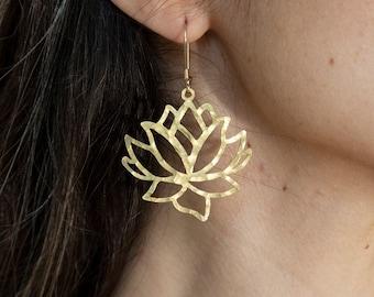 Lotus Mandala Earrings Yoga mom Gold Statement dangle Lotus flower earrings Mothers day gift Womens lotus earring gold Israeli Earrings Gift