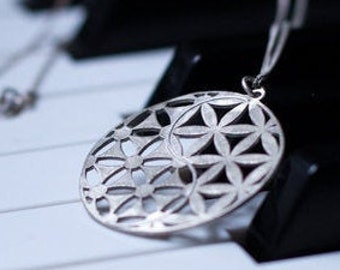 ce3b7448b5d Flower of life Silver Yin Yang Necklace Silver Circle Yin and Yang Pendant  Sacred Geometry Inspired Silver flower of life sterling silver925