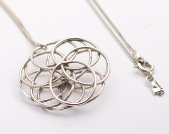 Long boho necklace, long Silver necklace, Flower of life necklace ,long bohemian necklace, Flower silver pendant, long silver necklace