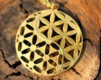 Flower of Life Necklace Yin Yang Amulet gold boho necklace Sacred geometry Pendant Yin Yang Pendant Kabbalah amulet gold bohemian necklace