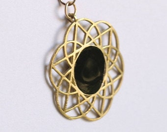 Gold pendant Necklace for Women, kabbalah flower of life jewelry, Unique Star of David, Jewish holiday gift, handmade design, Made in Israel