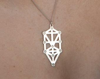 Sterling Silver Tree Of Life Spiritual Charm Sacred Geometry Tree Of Life Kabbalah Sephirot Boho Bohemian Tree Of Knowledge Yogi Necklace