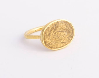 Gold Statement Ring 14k Gold Rings for Women, Symbolic Ring, ring 14k gold unique rings gold, Oval ring, bohemian rings, enamel ring, simple