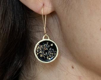 Black and Gold Geometric Circle Dangle Earrings | Minimal Black Dangle Earring | Modern Black Circle Earrings | Artisan Hanging Earrings