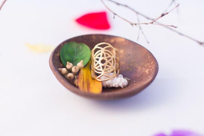 Kabbalah Ring flower of life ring for women gold Sacred Geometry ring Boho rings gold large rings women Boho wedding ring Mandala ring