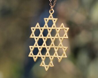 David star Necklace Flower of Life necklace Kabbalah Necklace Star of David Gold \ Silver Necklace Unique Jewish Star Gold necklace Israeli