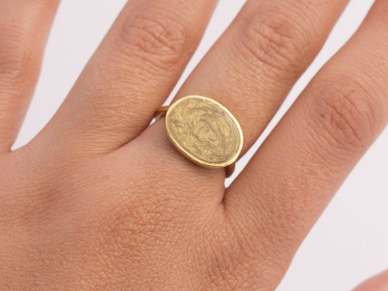 Gold Statement Ring 14k Gold Rings for Women Oval ring ring 14k gold unique rings gold bohemian rings enamel ring Symbolic Ring simple