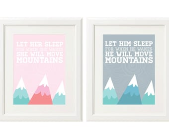 8x10 Move Mountains Art Prints (2 downloads included - For Girl and Boy)