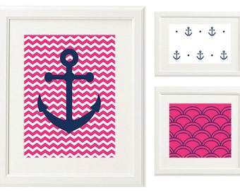 Nautical Anchors 8x10 Art Prints (Digital Files only, includes set of 3 prints)