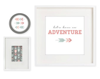 Let's Have an Adventure Arrow 8x8 Art Prints (Digital Files only, includes set of 4 prints)