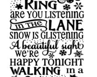 christmas lyrics svg file sleigh bells ring winter wonderland svg file digital download only