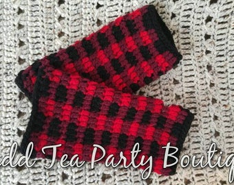 Plaid Fingerless Gloves, Buffalo Plaid, Fingerless Gloves, Ready to Ship, Whistle and Ivy Plaid Fingerless Gloves, Red and Black Fingerless