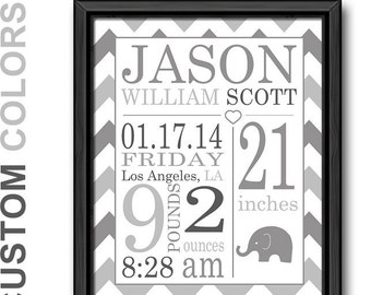 birth announcement wall art gray, personalized baby gifts, birth stats, baby stats, baby keepsake, baby nursery prints, baby room decor