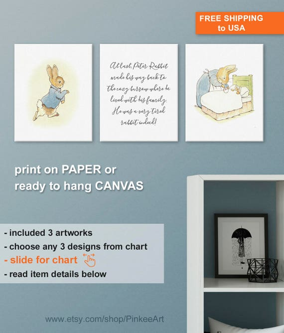 Nursery Prints Beatrix Potter Peter Rabbit Set of 2 Decor Wall Art Unframed A4