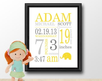 baby announcement subway, custom baby gift, baby name art, birth print, birth stats print, new baby print, baby stats wall art, baby decor