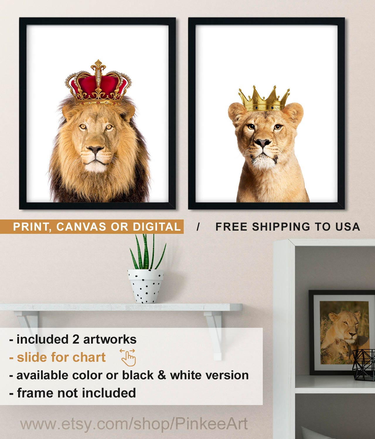 Lion And Lioness Wall Art Lion With Crown Print Lioness And
