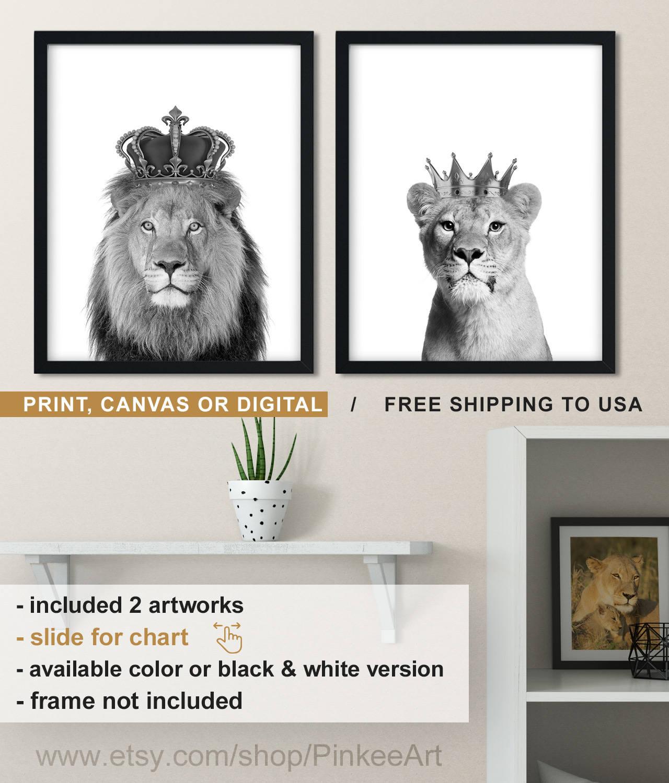 Löwe und Löwin schwarz und weiß Löwen-Krone-Print schwarz | Etsy
