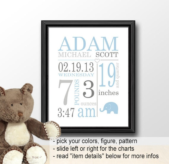 Baby Birth Announcement Elephant Birth Stats Canvas With Etsy