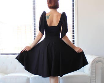 Custom Made to Measure, Sexy Black Cherrybomb Ribbon Dress by HARDLEY DANGEROUS COUTURE