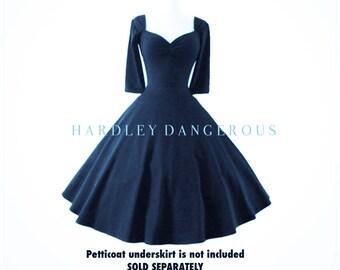 "Sale! Midnight Navy Blue Cherrybomb 3/4 Sleeve Swing Dress by Harldey Dangerous, MISSES Knee Length 38"""